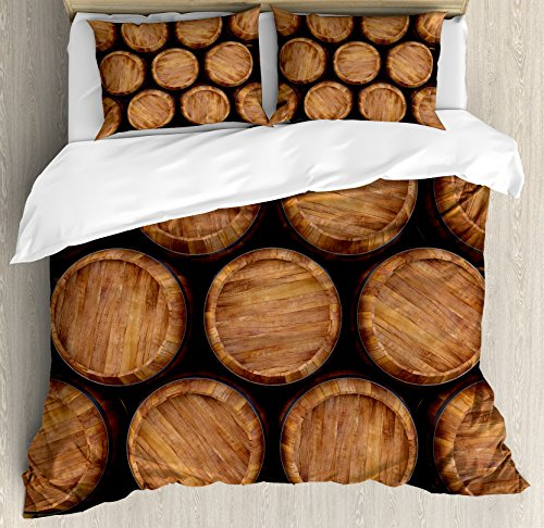 King Size by Ambesonne, Wall of Wooden Barrels Wine Stack Storage Gallon Antique Vintage Container Rustic Design, Decorative 3 Piece Bedding Set with 2 Pillow Shams, Brown (Sham Gallon)