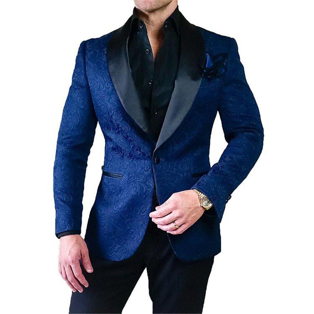 GEORGE BRIDE Party Jacket for Men Stylish Blazer Floral Party Dress Suit,L,Navy Blue+Black