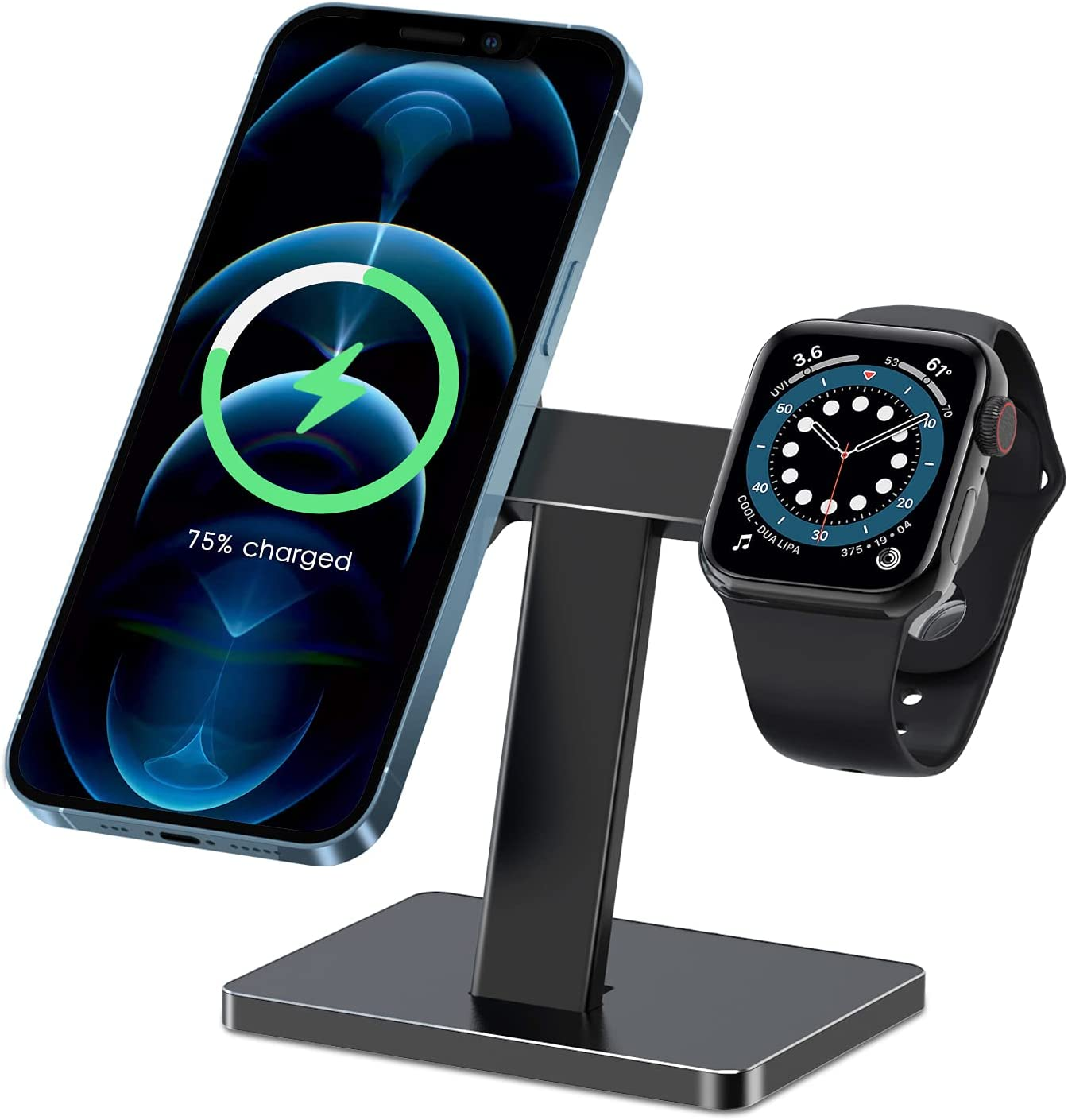 EWA 2 in 1 Wireless Charger Stand Compatible with MagSafe Charger and Apple Watch Charger, Compatible with iPhone 12 Series and Apple Watch Series - Black (Not Include The Charger)