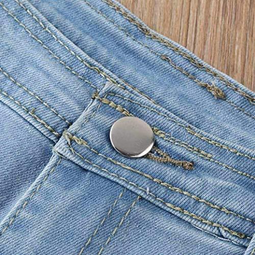 Blau Huecas Pantalones Cintura Pecho Creativo De Frente Cortos Las Slim Pajarita Elástico Mujeres Casuales Alta Denim Y Mezclilla Un Solo Jeans Fit Correas w1Ba1