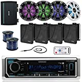 Kenwood KMRM315BT Marine Bluetooth CD Receiver Bundle Combo With 4x 6.5 Inch LED Coaxial Speaker W/ Light Remote Control + 4x 6.5 Black Box Speakers + Amplifier + Enrock 100Ft Speaker Wire & Antenna