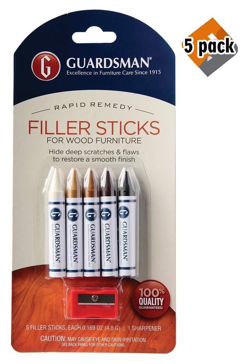 Guardsman Wood Repair Filler Sticks - 5 Colors Plus Sharpener - Repair and Restore Scratched Furniture - 500300, 5 Pack