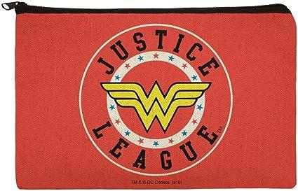 Estuche organizador de lápices con cremallera de la Liga de la Justicia Wonder Woman Athletic Logo: Amazon.es: Oficina y papelería