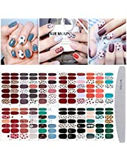 TOROKOM 20 Sheets Nail Full Cover Stickers, Leopard Full Wrap Nail Polish Strips Colorful Full Cover Stickers Self-Adhesive Nail Decals Strips Manicure Kits with Nail File for Women Girls