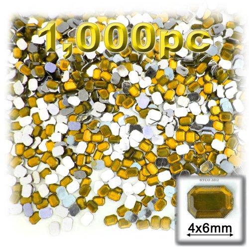 長方形の八角形Craftsコンセント1000-pieceアクリルアルミ箔フラットバックラインストーン、4by 6mm、ゴールデンイエロー