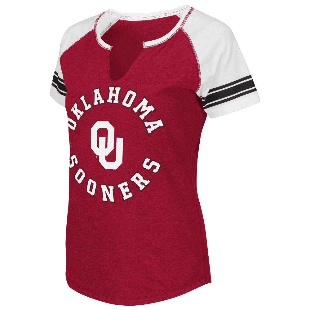 Womens NCAA Oklahoma Sooners Stripe V-Notch Short Sleeve Tee Shirt (Team Color)
