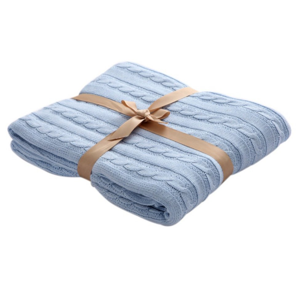 Handfly Cotton Cable Knit Woolen Wool Blanket Sleeping Twist Blanket for Air-conditioning Bedroom Bed Sofa Car Office Soft Blanket