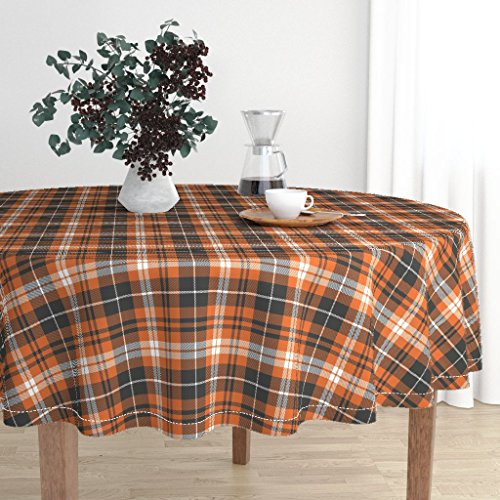 (Roostery Round Tablecloth - Pumpkin Spice Plaid Fall Winter Trendy Orange by Littlearrowdesign - Cotton Sateen Tablecloth 70in)