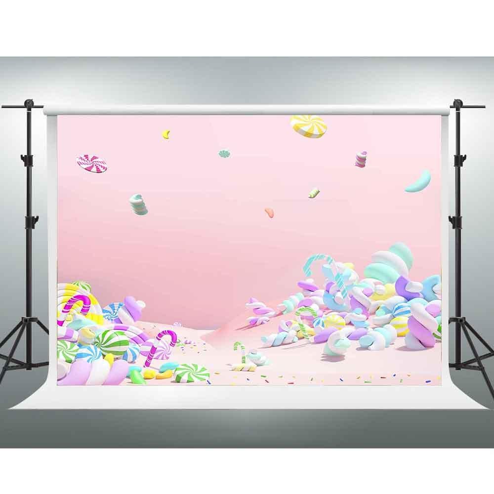 Gesen Backdrop 7 x 5ftピンク夢Sweet Candy世界背景テーマパーティー小道具チューブ背景ビデオStudio Backdrop pgge090   B07DZY7ZRL