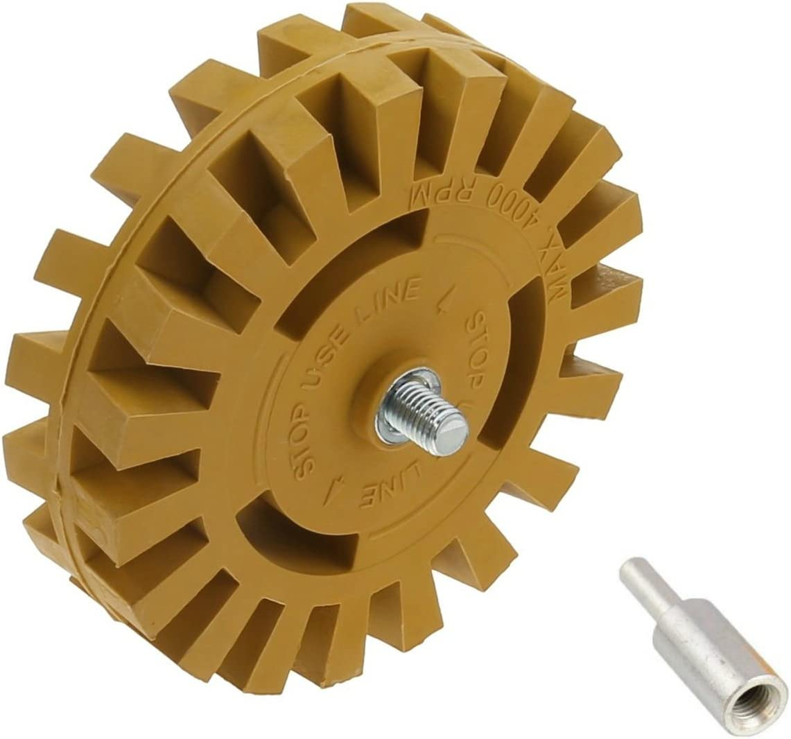 4 inch Rubber Pinstripe Decal Removal Eraser Wheel w// Power Drill Arbor Adapter