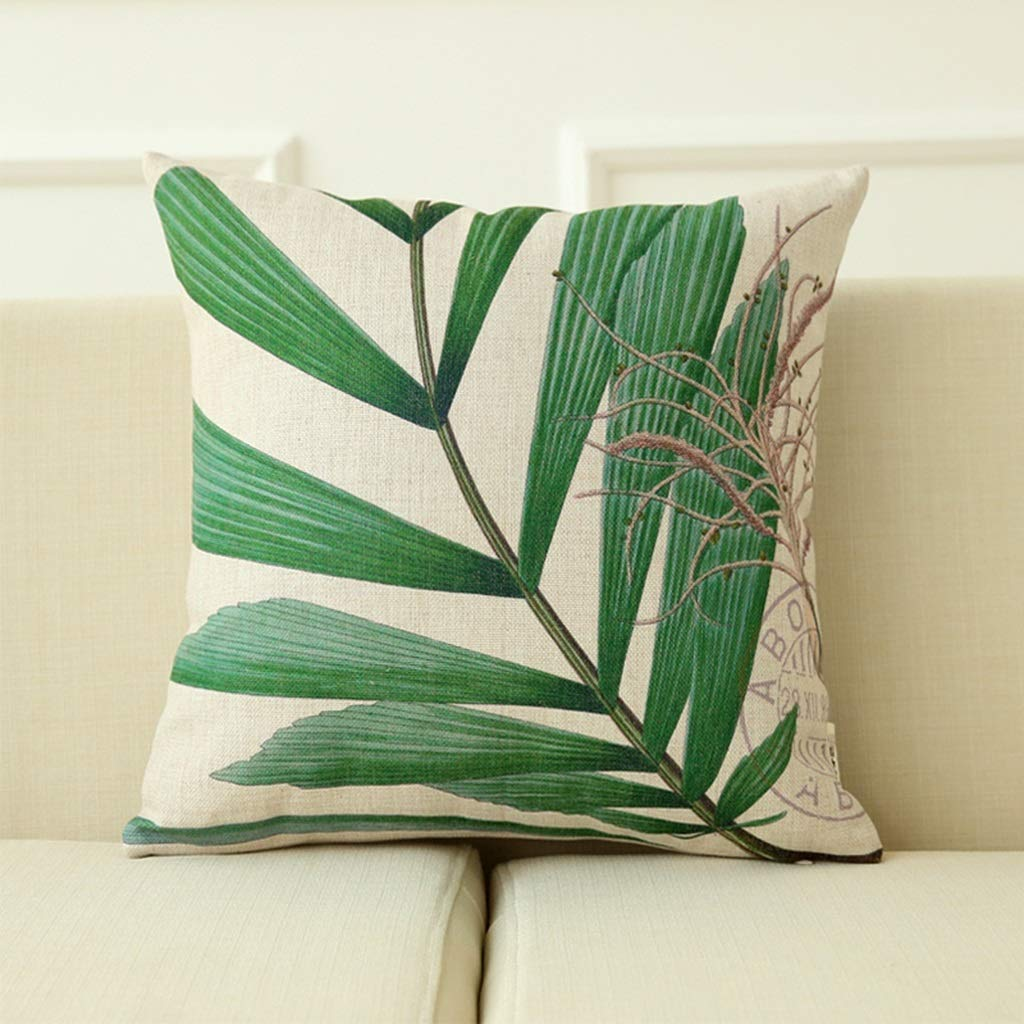 ZDNALS Square Cushion, Green Plant Pillow, Cotton and Linen Leaf Sofa by Multi-Pattern Optional 45cm×45cm Pillow (Pattern : B) by ZDNALS
