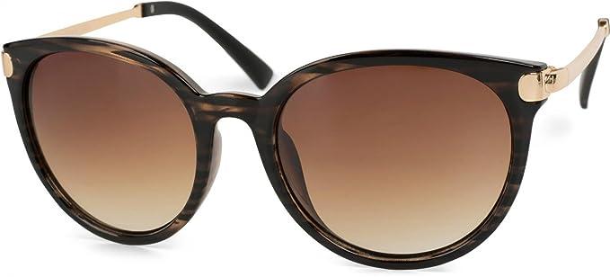 styleBREAKER  lunettes de soleil yeux de chat avec branches en métal, verres  ronds, 563cfbb40aaa
