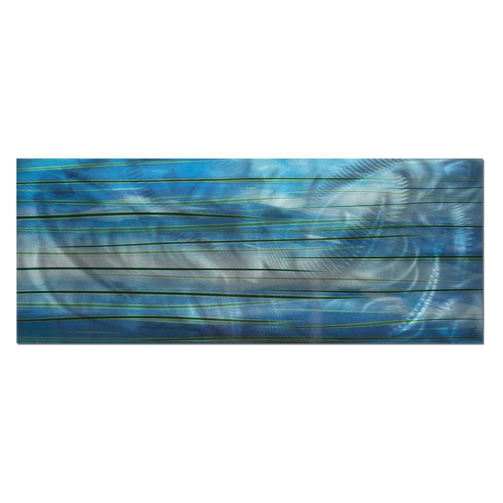 Contemporary wall art ocean view 48x19in big aquatic metal painting w a flowing water design green blue oceanic colors painted on metallic panel