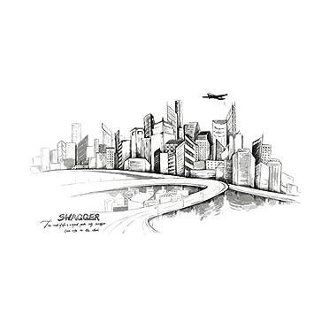 GAOLILI Grosse Mode Moderne Skizze Hand Bemalt Urban Architektur Wohnzimmer Dekorationen Wandaufkleber Shop Einfache Aufkleber