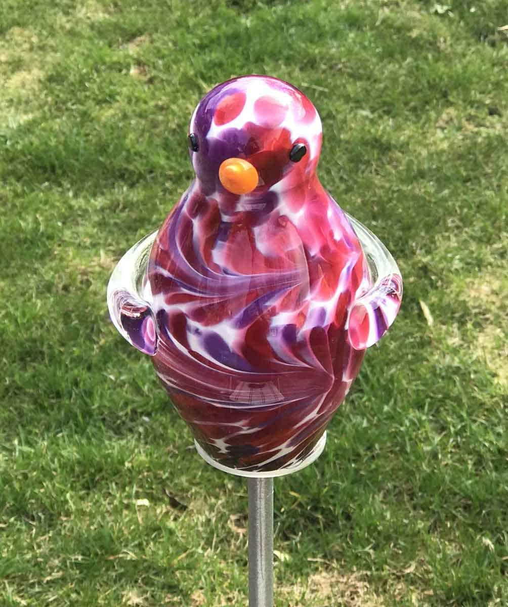 Spatz mit Flgel auf Stab Malve Glas H 132 cm Gartenstecker ...