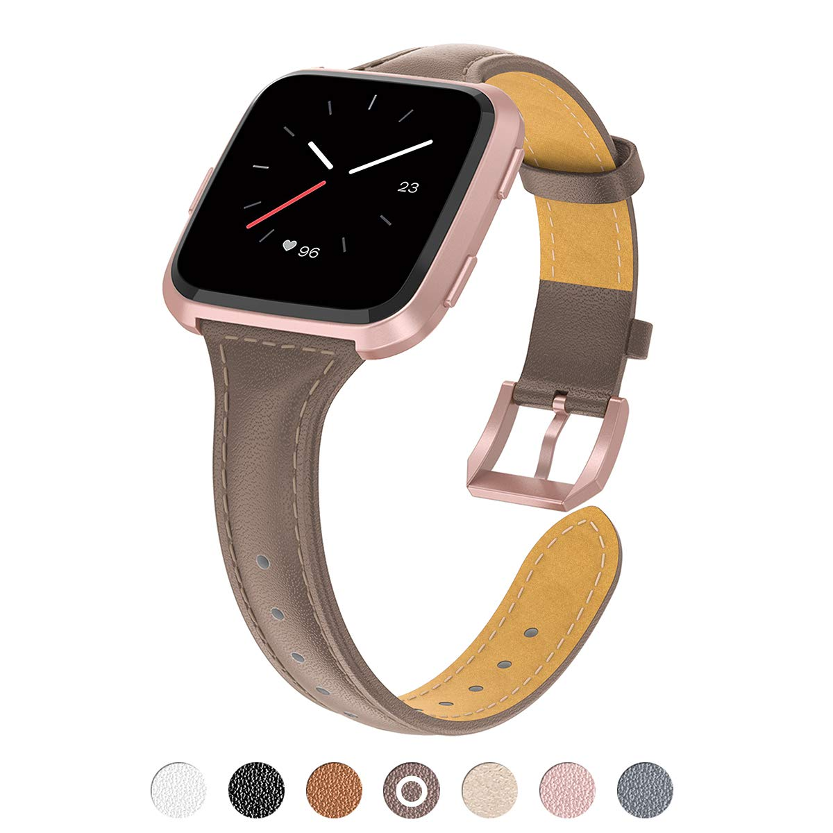 TOYOUTHS Compatible Fitbit Versa Leather Band, Slim Genuine Leather Strap Breathable Wristband Replacement for Fitbit Versa Accessories for Women Men