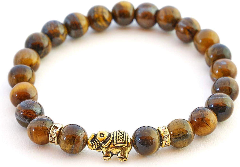 BERGERLIN Pulsera de Elefante con Perlas Naturales y Piezas destacadas de Cristal