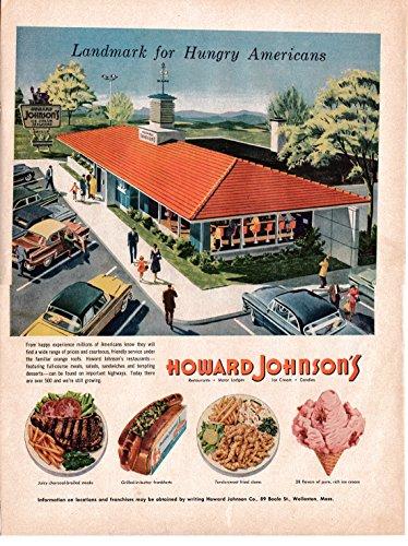 Ice Howard Cream Johnsons (1956 Howard Johnson's Restaurant-Steaks-Ice Cream-Original 13.5 * 10.5 Magazine Ad)