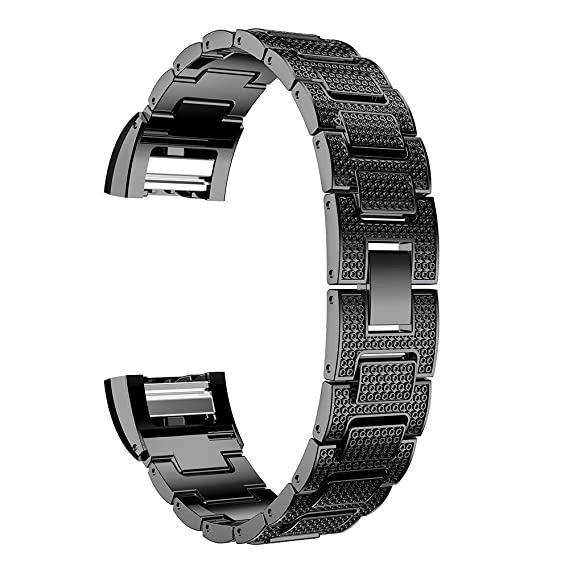 pulsera de metal correas ajustables negros súper lujo de reemplazo correas de reloj de pulsera para la Fitbit Charge 2: Amazon.es: Relojes
