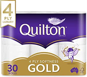 Quilton 4 Ply Toilet Tissue (140 Sheets per Roll, 11cm x 10cm), 30 count, Pack of 30