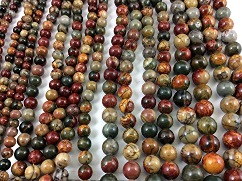 Natural Red Creek(Picasso) Jasper 8mm Round Bead, Full Strand G01037 (Creek Jasper Red)