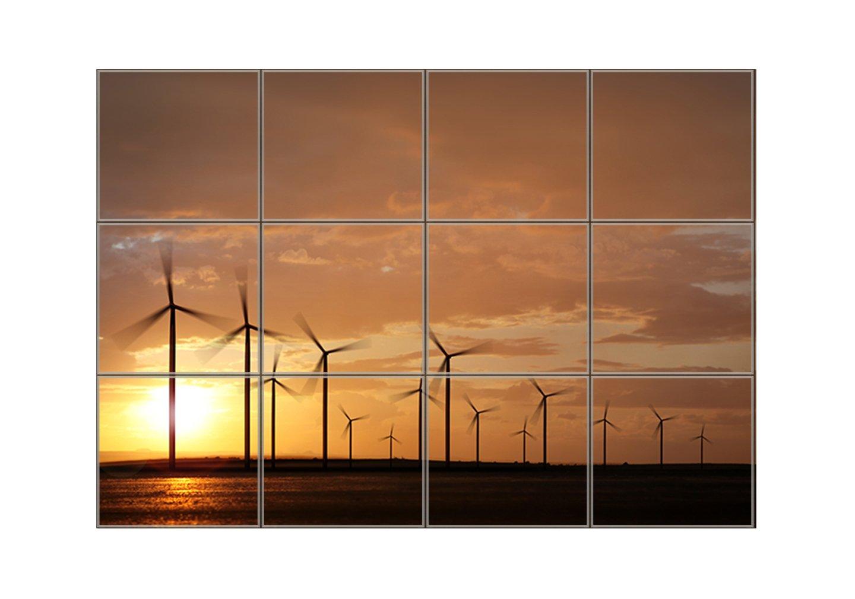 Windpower On Sunset Horizontal Tile Mural Satin Finish 12''Hx16''W 4 Inch Tile