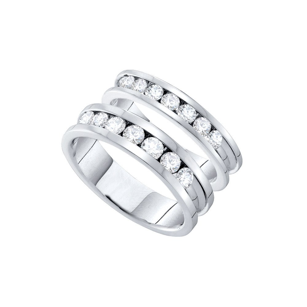 14k White Gold Round Diamond Matching Comfort-fit Womens Mens His Hers Wedding Band Set (1.50 cttw.) (I1)