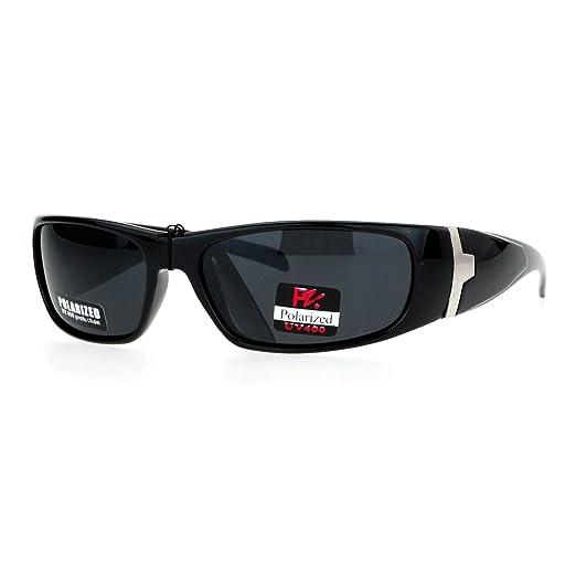 4f3a0280f7 SA106 Mens Antiglare Polarized Biker Warp Plastic Sunglasses All Black