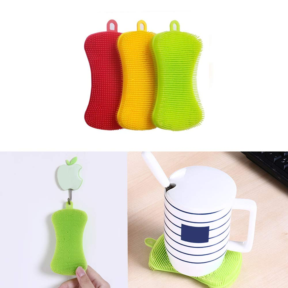 Silicone Sponge Dish Washing Kitchen Scrubber,Easy to Operate,Food-Grade Antibacterial Dish Scrubber | Heat-Resistant Pot Holder | Easy to Handle and Clean Non-Stick Brush(3 Pack) by Donsire (Image #5)