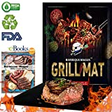 #5: Barbecue Magus BBQ Grill Mat Set of 2- Reusable Non-Stick grilling Mats (Black) - Extended Warranty-15.75 x 13 Inch