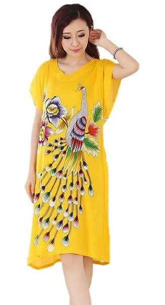 Bigood Blusa de Dormir Mujeres Algodón Dibujo de Pavo Real Suelto Amarilla