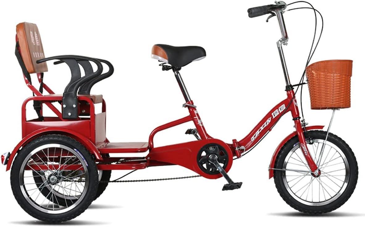 ZFF Plegable Triciclos para Adultos 16 Pulgadas Pedales Bicicletas De Tres Ruedas con Cesta De La Compra Y Asiento Trasero por Personas Mayores Mujeres Hombres Rojo