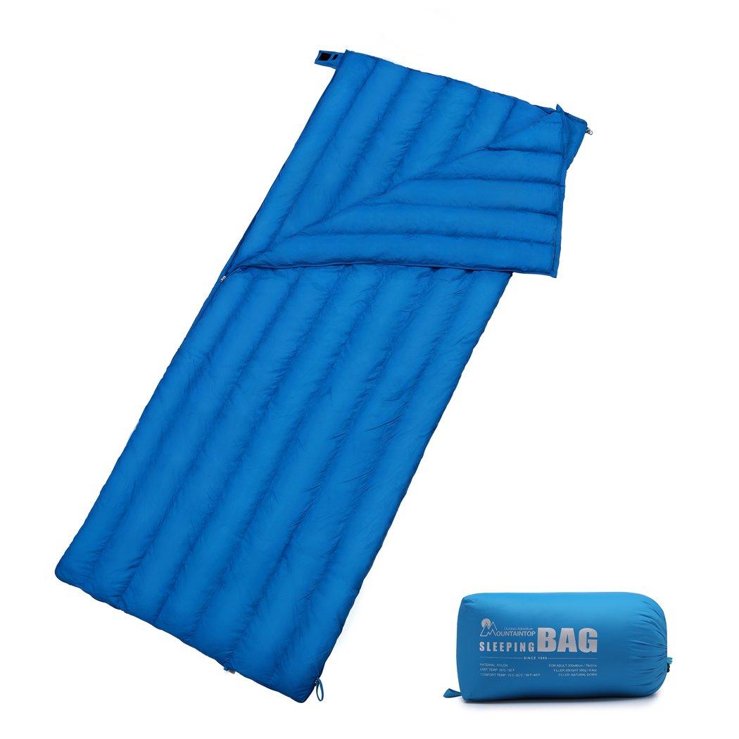 Mountaintop 32度F超軽量軽量Mummy Down Sleepingバッグバック大人キャンプハイキングwith圧縮袋 B07D4CNYBX  Blue1-280g Down Filler