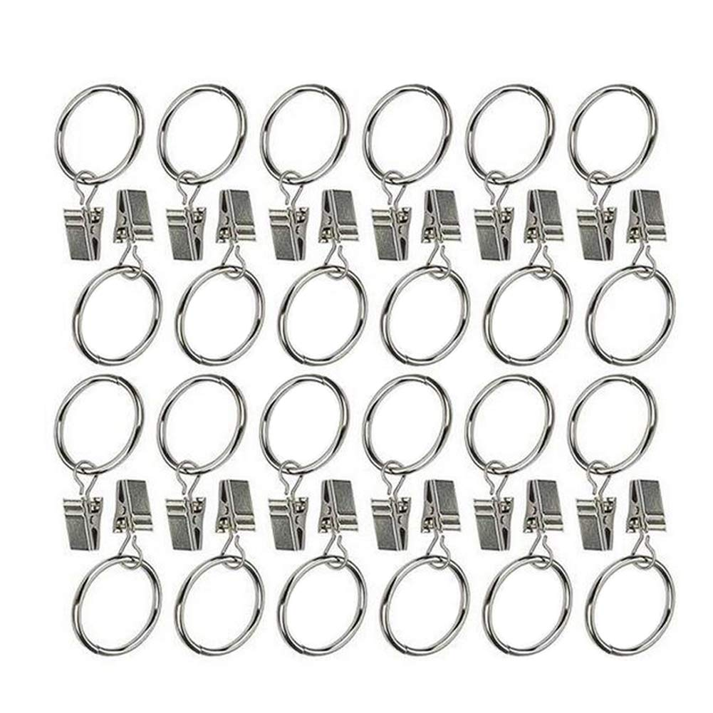 24PCS Black Durable Curtain Clips Strong Metal Decorative Drapery Window Curtain Hook Hanger Ring with Clip Rustproof Vintage Rings Interior Diameter 32mm//1.26
