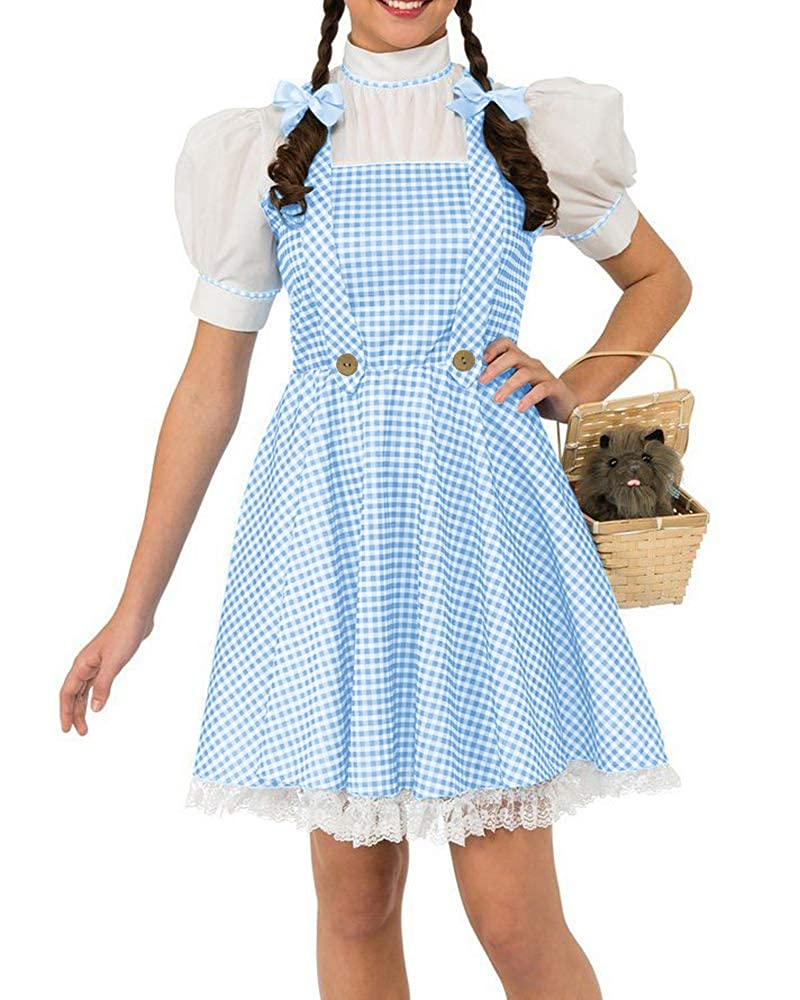fbfe622d25d8 Feature Halloween wizard Oz costume iconic blue gingham dress with with  attached shirt