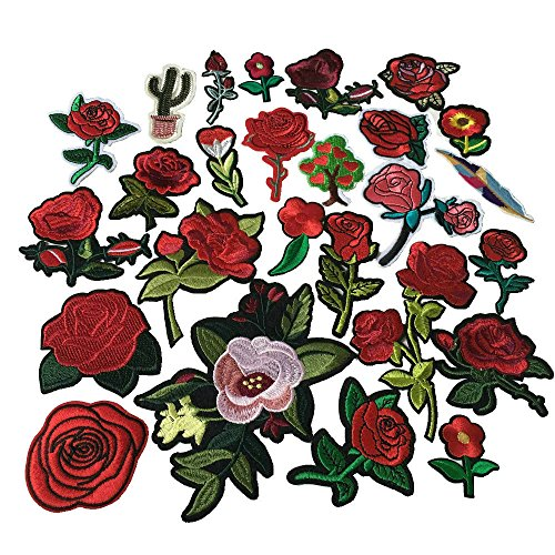 (26pcs Red Flowers Iron On Patches Clothing Backpack Decoration Small Embroidered Applique)