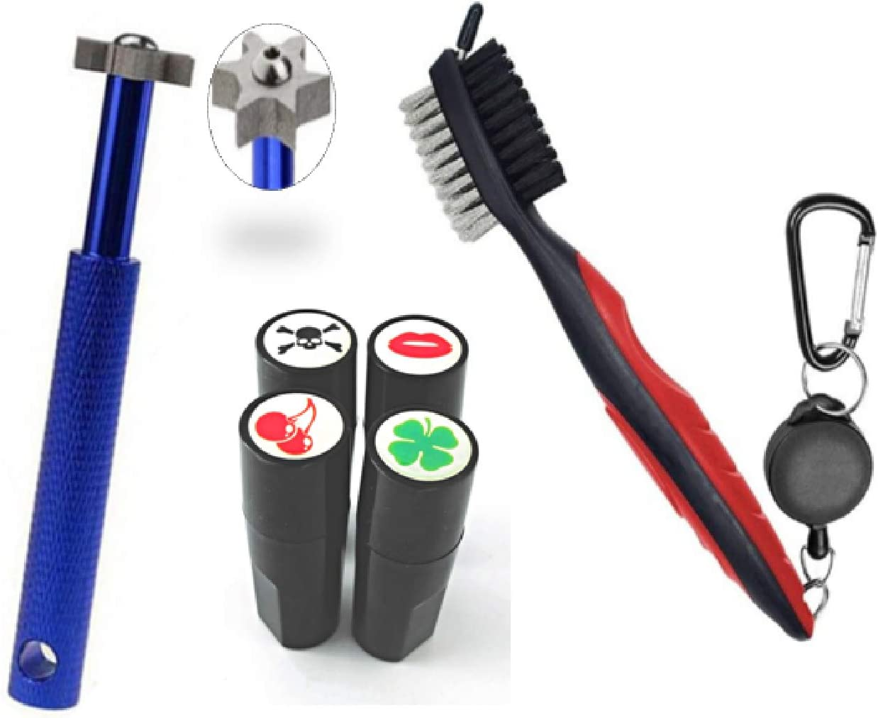 Finish It! On-Course Golf Accessories for Men & Women – Golf Brush and Groove Cleaner with Bonus Golf Ball Stamp (One Stamp per Bundle with Random Design) – Thoughtful Golf Gifts!
