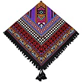 Kingree 100% Cotton Muffler, Warm Scarf with Tassel, Russian Style Large Bandana, Wrap Shawl Stole With Fringes (JF07-Wine Red)