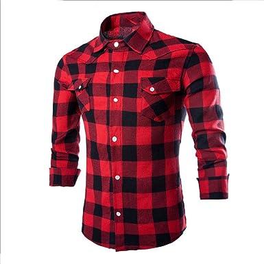 3c3c871322de Image Unavailable. Image not available for. Colour: Fashion ER Fashion  Men's Luxury Stylish Slim Fit Long Sleeve Plaid Shirt Two Pockets Dress  Casual