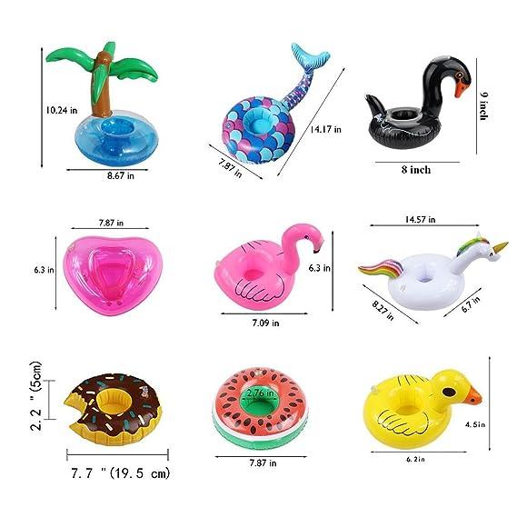 Mattelsen 12 Pcs Posavasos Hinchable de Flotador Unicornio & Flamingo con Bomba Colchonetas y Flotante Juguetes de Piscina Ocio Agua Diversión Juguetes ...
