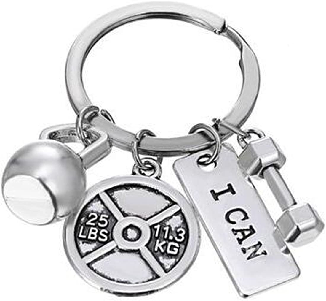 HuiLin Jewelry Bodybuilding Fitness Kettlebell Dumbell 25lb Plate Charm Key Ring I CAN