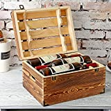 MyGift Wood 6 Wine Bottle Case, Rustic Storage Box with Handles and Lid, Brown