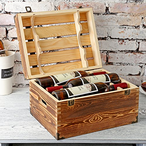 Bottle Wooden Gift - MyGift Wood 6 Wine Bottle Case, Rustic Storage Box with Handles and Lid, Brown