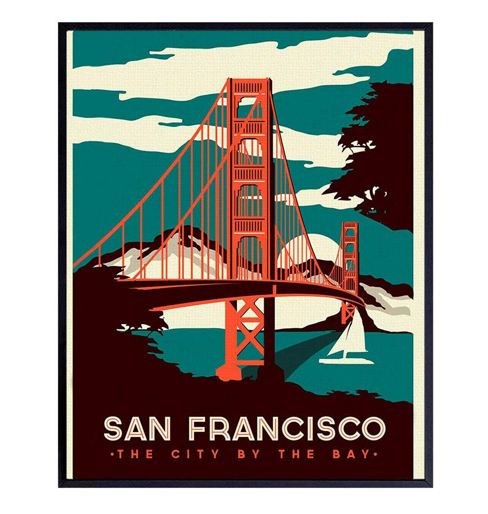 San Francisco Golden Gate Bridge Vintage Art Print Wall Poster -Chic Home Decor for Living Room, Bedroom, Family Room, Office - Gift for California CA Travel Fans- 8x10 Photo Unframed