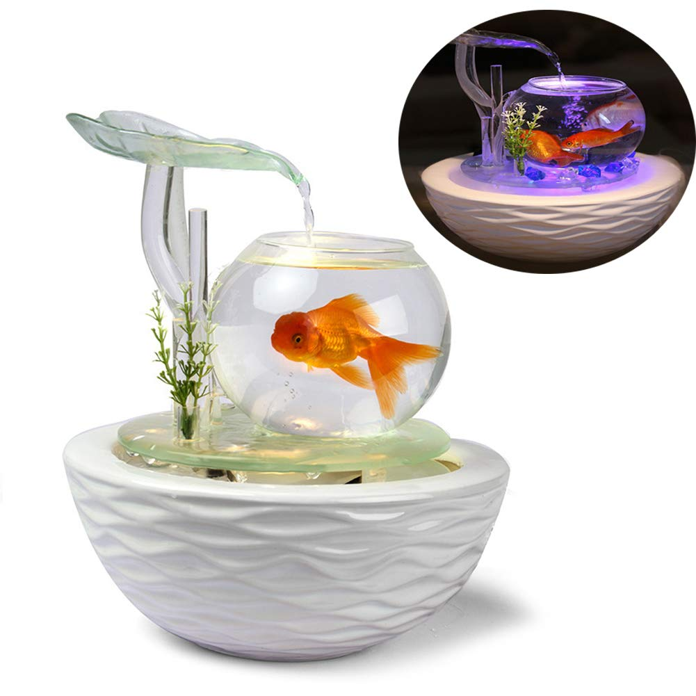 Aquarium Fish Tank Fish Humidifier Humidification Two-in-One, Living Room Desk Glass Fish Tank Water Ornaments Crafts
