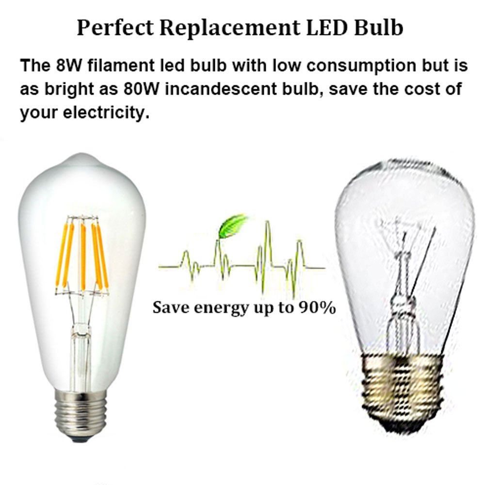Ltd Lusta LED Co 3-Pack Bonlux 10W ST21 ST64 LED Vintage Edison Filament Light Bulb Neutral White 4000K Medium Screw E26 Base Clear Squirrel Cage Style Decorative Bulb 100W Incandescent Equivalent