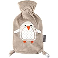 """Fashy """"Pia"""" 35720.4 Wärmflasche/Kinderwärmflasche Pinguin ~ Thermoplast- Wärmeflasche mit kuschelweichem Flauschbezug aus 100% Polyester, robust und langlebig ~ 0,8 Liter"""