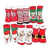 Ehdching 6pairs Baby Kids Cartoon Christmas Holiday Toddler Children's Socks (M(3-5 Years))