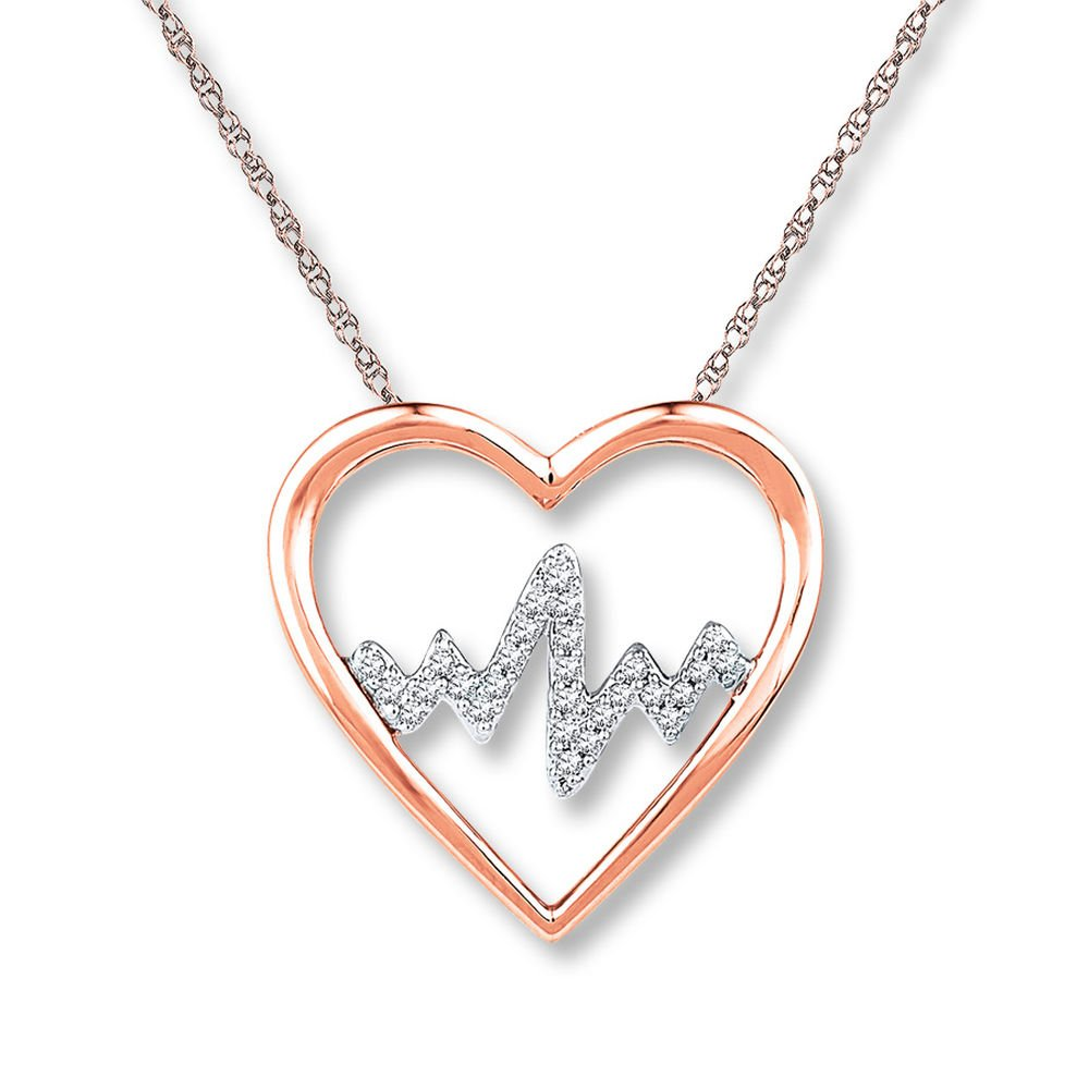 Valentine/'s Day Love Gift Heartbeat Necklace 1//10 ct tw Diamonds 14K Rose Gold Plated