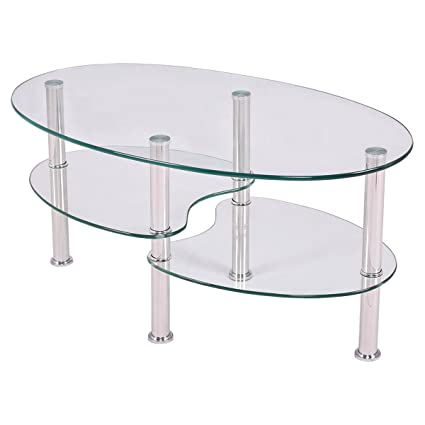Exceptionnel TANGKULA Glass Coffee Table For Home Office With 2 Tire Tempered Glass  Boards U0026 Sturdy Chrome